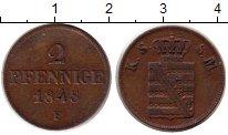 Изображение Монеты Саксония 2 пфеннига 1848 Медь XF Фридрих Август II