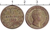 Изображение Монеты Баден 6 крейцеров 1832 Серебро XF