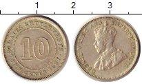 Изображение Монеты Стрейтс-Сеттльмент 10 центов 1921 Серебро XF+