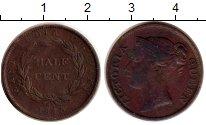 Изображение Монеты Стрейтс-Сеттльмент 1/2 цента 1845 Медь XF- Виктория