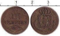 Изображение Монеты Вюрцбург 3 крейцера 1807 Серебро XF-