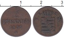 Изображение Монеты Германия Саксония 2 пфеннига 1856 Медь XF-
