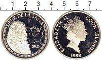 Изображение Монеты Острова Кука 50 долларов 1988 Серебро Proof- Де ла Салле