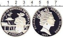 Изображение Монеты Соломоновы острова 10 долларов 1991 Серебро Proof- Мендана де Нейра Кор