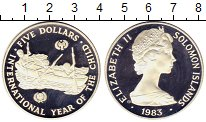 Изображение Монеты Соломоновы острова 5 долларов 1983 Серебро Proof Елизавета II.  Между
