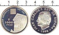 Изображение Монеты Европа Испания 1000 песет 1998 Серебро Proof-