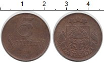Изображение Монеты Латвия 5 сантим 1924 Бронза XF