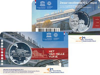 Изображение Мелочь Нидерланды 5 евро 2015 Посеребрение