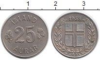 Изображение Монеты Европа Исландия 25 аурар 1958 Медно-никель XF