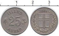Изображение Монеты Исландия 25 аурар 1965 Медно-никель XF