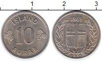 Изображение Монеты Европа Исландия 10 аурар 1969 Медно-никель XF