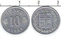 Изображение Монеты Европа Исландия 10 аурар 1970 Алюминий XF