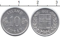 Изображение Монеты Европа Исландия 10 аурар 1971 Алюминий XF