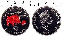 Изображение Монеты Соломоновы острова 5 долларов 2007 Серебро Proof Год свиньи