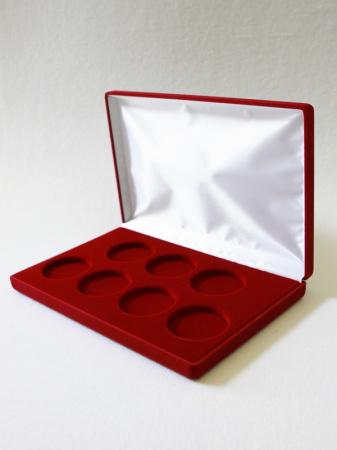 Изображение Аксессуары для монет Бархат Подарочный футляр на 7 монет в капсулах (Ø ячеек 44мм) 0