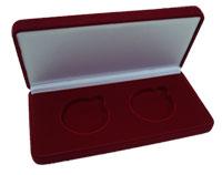 Изображение Аксессуары для монет Бархат Подарочный футляр на 2 монеты в капсулах (Ø ячеек 44 мм) 0   Футляр (102х142х42 м