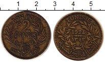 Изображение Монеты Африка Тунис 2 франка 1924 Латунь VF