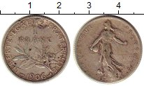 Изображение Монеты Европа Франция 1 франк 1906 Серебро VF