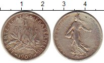 Изображение Монеты Европа Франция 1 франк 1909 Серебро VF