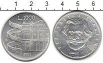 Изображение Монеты Италия 1000 лир 2001 Серебро UNC- Джузеппе Верди