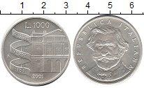 Изображение Монеты Европа Италия 1000 лир 2001 Серебро UNC