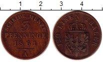 Изображение Монеты Германия Пруссия 3 пфеннига 1861 Медь XF