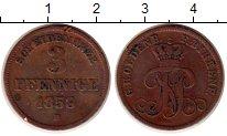 Изображение Монеты Германия Ольденбург 3 пфеннига 1858 Медь VF