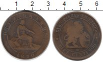 Изображение Монеты Европа Испания 10 сентим 1870 Медь VF