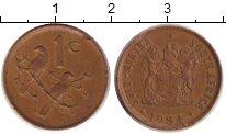 Изображение Дешевые монеты Африка ЮАР 1 цент 1984 Медь VF
