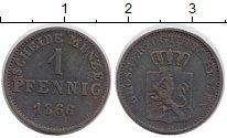 Изображение Монеты Германия Гессен 1 пфенниг 1866 Медь VF