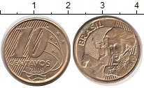 Изображение Дешевые монеты Бразилия 10 сентаво 2008 Латунь-сталь XF-