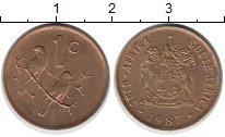 Изображение Дешевые монеты ЮАР 1 цент 1987 Бронза XF