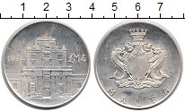 Изображение Монеты Европа Мальта 4 фунта 1974 Серебро UNC-