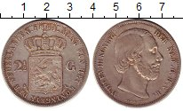 Изображение Монеты Нидерланды 2 1/2 гульдена 1864 Серебро XF-