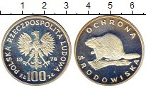 Изображение Монеты Польша 100 злотых 1978 Серебро Proof- Охрана дикой природы
