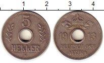 Изображение Монеты Германия Немецкая Африка 5 геллеров 1913 Медно-никель XF