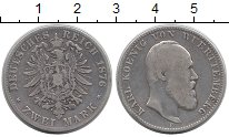 Изображение Монеты Германия Вюртемберг 2 марки 1876 Серебро VF
