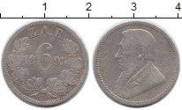 Изображение Монеты ЮАР 6 пенсов 1895 Серебро VF Пауль Крюгер