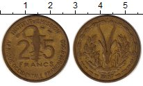 Изображение Монеты Западная Африка 25 франков 1953 Латунь XF