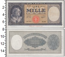 Изображение Банкноты Европа Италия 1000 лир 1947  XF