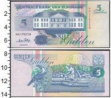 Изображение Банкноты Южная Америка Суринам 5 гульденов 1991  UNC