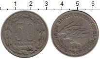 Изображение Монеты Центральная Африка 50 франков 1965 Медно-никель VF Антилопы