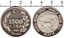 Изображение Монеты Азия Турция 1500 лир 1983 Серебро Proof-