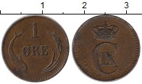 Изображение Монеты Европа Дания 1 эре 1874 Медь XF