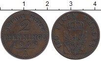 Изображение Монеты Германия Пруссия 2 пфеннига 1852 Медь XF