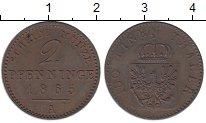 Изображение Монеты Германия Пруссия 2 пфеннига 1865 Медь XF+