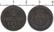 Изображение Монеты Германия Саксония 1 пфенниг 1811 Медь XF-
