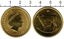Изображение Мелочь Австралия 1 доллар 2009 Латунь UNC Год быка