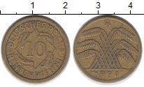 Изображение Дешевые монеты Германия 10 пфеннигов 1924 Латунь VF+