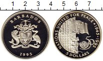 Изображение Монеты Северная Америка Барбадос 5 долларов 1995 Серебро Proof
